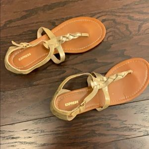 Express gold ankle strap sandals